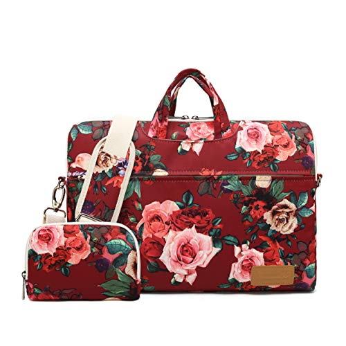 Canvaslife Burgundy red Roses Pattern 15 inch Waterproof Laptop Shoulder Messenger Bag for 14 Inch to15.6 inch Laptop and MacBook Pro 15 Laptop Case ()