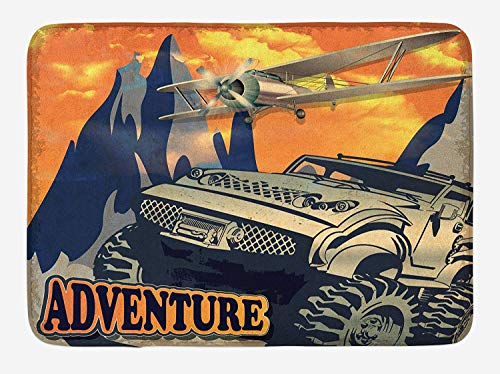 Adventure Bath Mat, Grunge Retro Poster of a Big Car with Huge Tyres and Biplane on The Mountains, Plush Bathroom Decor Mat with Non Slip Backing, 23.6 W X 15.7 -