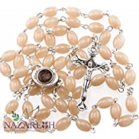 Beautiful Catholic Brown Glass Beads Rosary with Metal Crucifix from Jerusalem