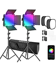 Neewer 2 Packs 530 PRO RGB Led Video Light with APP Control Softbox Kit,360°Full Color,45W Video Lighting CRI 97+ for Gaming,Streaming,Zoom,YouTube,Webex,Broadcasting,Web Conference,Photography