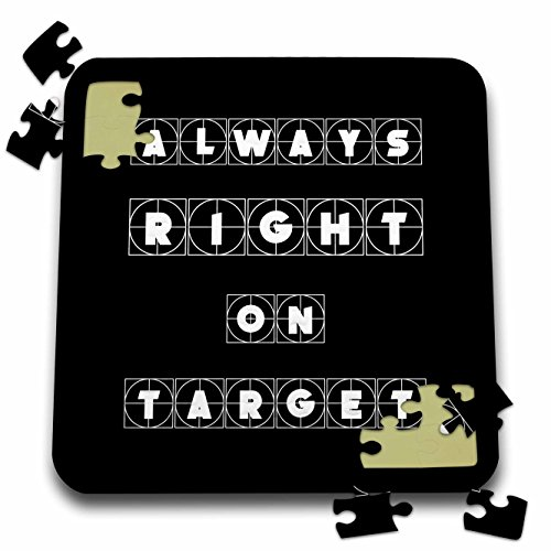 3dRose Alexis Design - Focus - Always right on target cross hairs text on black background - 10x10 Inch Puzzle ()