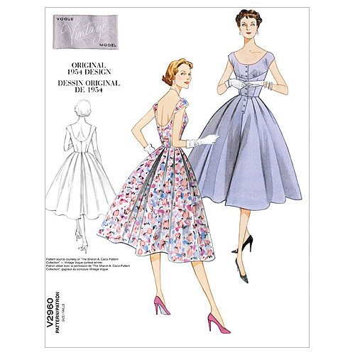 1950s Sewing Patterns | Dresses, Skirts, Tops, Mens 1954 Vogue Patterns V2960 Misses Dress Size DD (12-14-16-18)  AT vintagedancer.com
