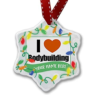Personalized Name Christmas Ornament, I Love bodybuilding NEONBLOND