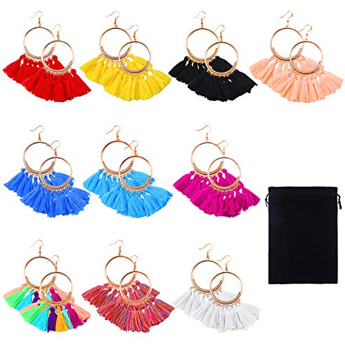 (Cooraby 10 Pairs Tassel Hoop Earrings Bohemia Colorful Fan Shape Drop Earrings with Velvet Storage Bag for Women Girls Party Bohemia Dress Accessory Fashion Jewelry (Multicolor A))