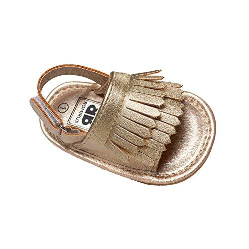 Vanbuy Baby Boys Girls Tassels Sandals Infant Soft Rubber Sole Moccasins Toddler Crib Anti Slip Shoes WB04-Gold-M - Image 1