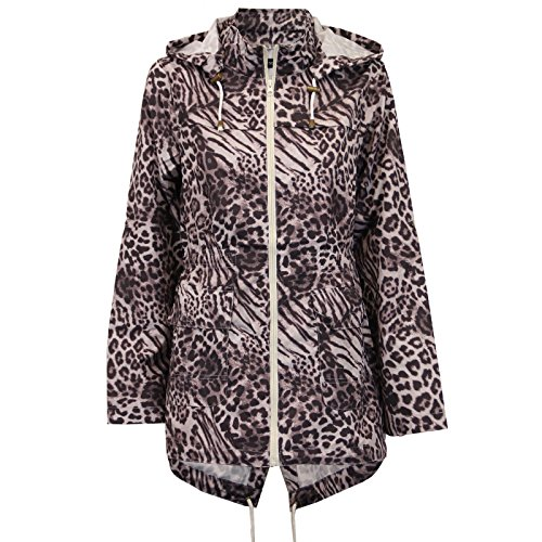 New Womens Leopard Print Zip Mac Raincoat Polyester Parka Hooded Jacket 8-24