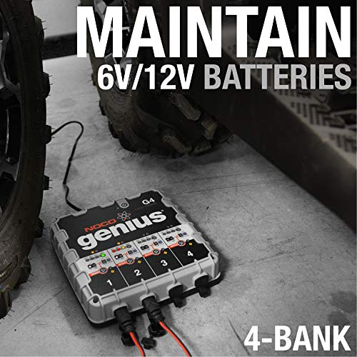 NOCO Genius G4 6V/12V 4.4 Amp 4-Bank Advanced Battery Trickle Charger Maintainer