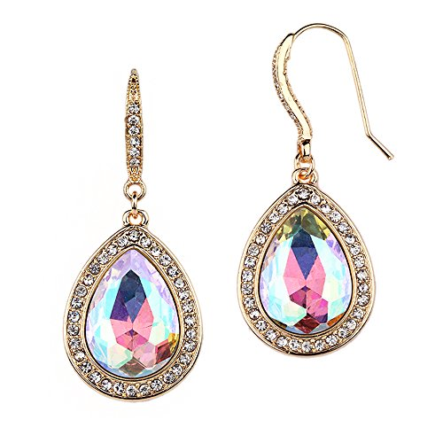 Mariell Gold AB Crystal Pear-Shaped Dangle Earrings for Wedding Parties, Prom, Bridesmaids & Fashion Glam ()