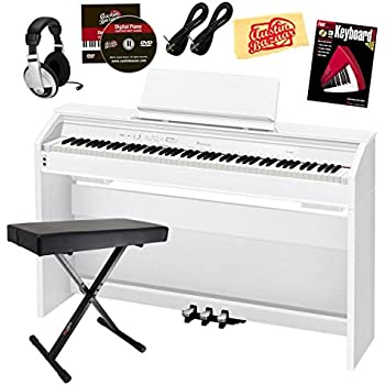 Casio Privia PX-860 Digital Piano Bundle with Gearlux Bench, Austin Bazaar Instructional DVD, Instructional Book, Headphones, Instrument Cables, and Polishing Cloth - White