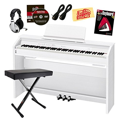 Casio Privia PX-860 Digital Piano - White Bundle with Adjustable Bench, Headphones, Instrument Cables, Instructional Book, Austin Bazaar Instructional DVD, and Polishing Cloth