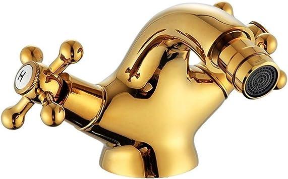 Vinteen Baño grifo, venta como las tortas calientes Oro bidet eje Toque doble asa de oro cuenca del mezclador del bidé de la grúa de latón antiguo grifo de baño grifo