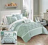 Chic Home Marcia 3 Piece Reversible Comforter Set Super Soft Microfiber Pinch Pleated Ruffled Design with Geometric Patterned Print Bedding with Decorative Pillows Shams, Twin Green