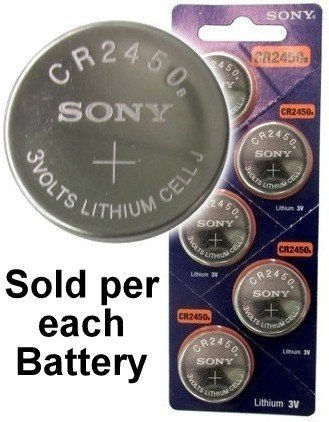 Sony CR2450B 3 Volt Lithium Coin Battery On Tear Strip (Pack of 5) - Cell Lithium Coin Sony