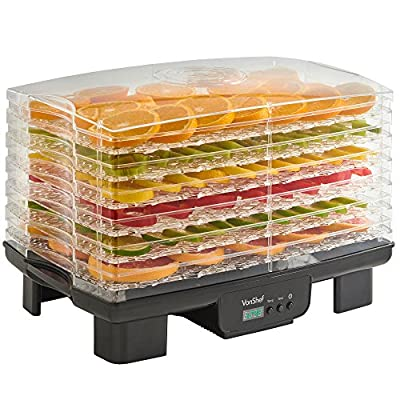 VonShef 6 Tier Electric Digital Food Dehydrator with Adjustable Temperature Control and Timer