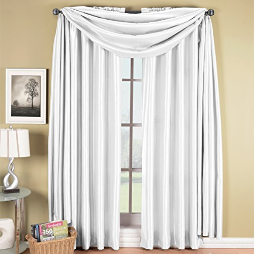 Exquisite Draperies Soho Rod Pocket Faux Silk Window Treatments, Contemporary Décor Panels & Scarfs, Panels Available in 63, 84, 96 & 108 Inches Length, Complete Modern Look With Matching Scarf, 42 Inches by 216 Inches Scarf, White