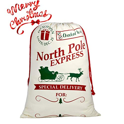 Blank Personalized Santa Sack Large Christmas Presents Sacks Bags with Drawstring 19