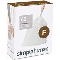simplehuman Code F Custom Fit Liners, Drawstring Trash Bags, 25 Liter / 6.5 Gallon, 3 Refill Packs (60 Count)