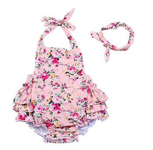China Rose 50s Floral Ruffles Rompers Backless Dress Bathing Suit Swimwear (Medium,Pink)