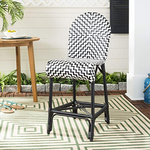 Safavieh PAT4020A Collection Shea Black and White Indoor/Outdoor Counter Stool (Stool Bar Collection 24)