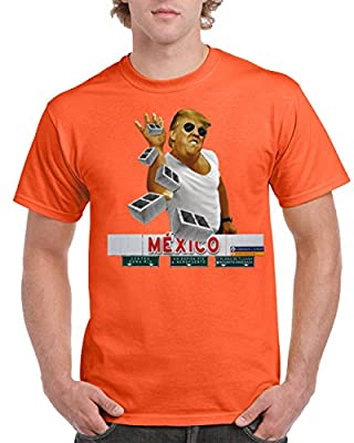 Trump Pitching Brick Mexico Wall Men's T-Shirts Round NeckTee Shirts for Men