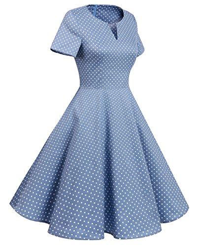 collo V Del 1950 Luce Maniche Puntino Annata Bridesmay Corte Blu Altalena Donne Delle Retro Vestito Bianco Piccolo qtwIE1H1T