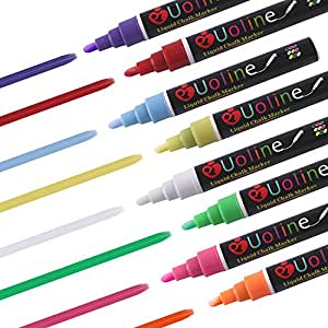 Liquid Chalk Markers - 8 Washable Pens with Reversible Tip for Window and Chalkboard (Nature)