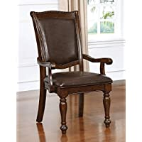 Furniture of America CM3350AC-2PK Alpena Brown Cherry Arm Chair Set of 2 Dining