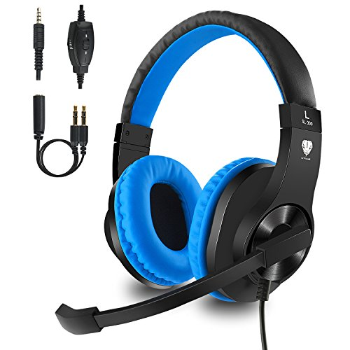 Gaming headset with Mic for Xbox One, PS4, Mobile, PC, Noise Canceling Over-ear Headphone with Surrounding Sound, Soft Memory Earmuffs for Computer Laptop Nintendo Switch Controller