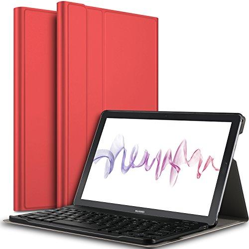 IVSO Keyboard Case for Huawei MediaPad M5 10.8 [QWERTY], Slim PU Case with Detachable Wireless Keyboard for Huawei MediaPad M5 Pro / M5 10.8 2018 Release, Red