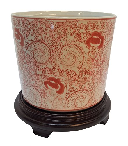 Oriental Furnishings Porcelain Chinese Planter in Red and White Floral Design 8