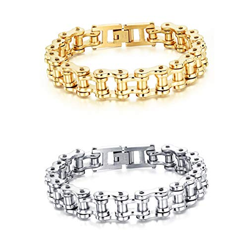 Mens Bikers High Polished Bracelet Chain Stainless Steel Motorcycle Bike Wristband Titanium Bracelets 8.5 Inch.(E - Gold + Silver)