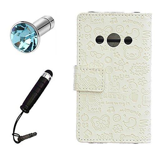 Lusee® PU Caso de cuero sintético Funda para Huawei Y3 2017 5.0 Pulgada Cubierta con funda de silicona botón pequeña bruja lilac pequeña bruja blanco