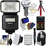 Sony Alpha HVL-F60RM Radio-Control Wireless Flash with Video Light + Soft Box + Bouncer + Color Gels + Batteries & Charger + Backpack + Tripod Kit