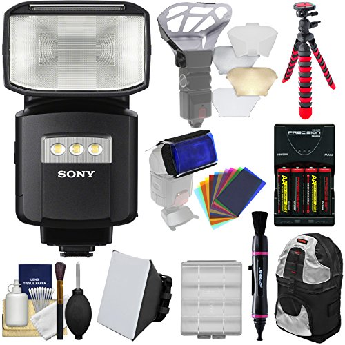 Sony Alpha HVL-F60RM Radio-Control Wireless Flash with Video Light + Soft Box + Bouncer + Color Gels + Batteries & Charger + Backpack + Tripod Kit (Bouncer Wireless)