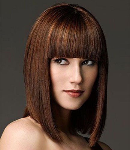 Beauty : ELIM Short Bob Hair Wigs for Women Brown Wig with Bangs Heat Resistant Yaki Synthetic Hair (Brown) Z100BR