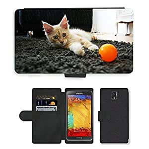 PU LEATHER case coque housse smartphone Flip bag Cover protection // M00109379 Cat Cat Pet Hangover pelo largo // Samsung Galaxy Note 3 III N9000 N9002 N9005