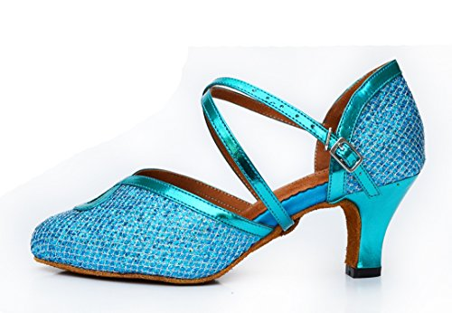 Evening Strap Wedding Modern Synthetic Blue Sandals Dance MGM Tango Women's Toe Ballroom Joymod Heel 6cm Shoes Glitter Closed Salsa Latin Cross SgFZq