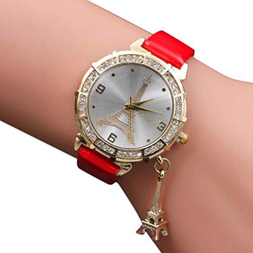 Snowfoller Simple Fashion Women Quartz Wrist Watch Point Drill Tower Pendant Watch Leather Brand Casual Watch (D)