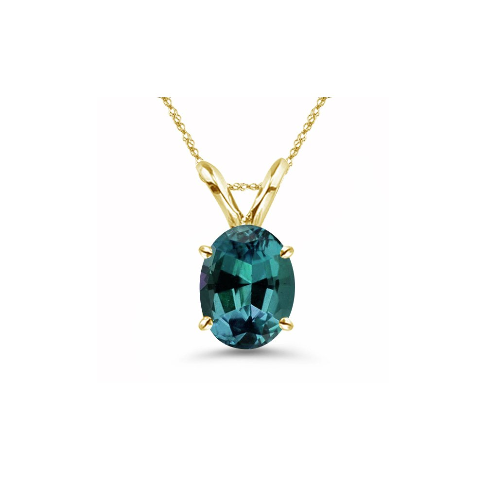 After Christmas Deals - 1.94-2.95 Cts of 9x7 mm AAA Oval Lab created Russian Alexandrite Solitaire Pendant in 14K Yellow Gold