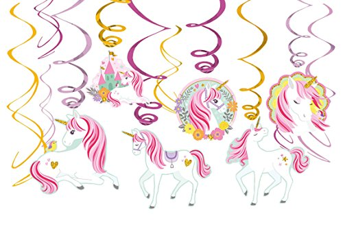Amscan Magical Unicorn Value Pack Foil Swirl Decorations Party Supplies (9 Piece), Multi
