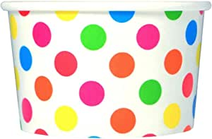 50 Count Rainbow Paper Ice Cream Cups - 4 oz Polka Dot Dessert Bowls - Comes in Many Colors & Sizes! Frozen Dessert Supplies