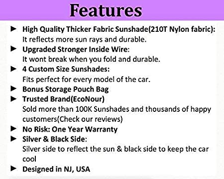 Blocks UV Rays Sun Visor Protector EcoNour Car Windshield Sun Shade Classic 59 x 27.55 inches Fits Windshields of Various Sizes Sunshade to Keep Your Vehicle Cool and Damage Free,Easy to Use