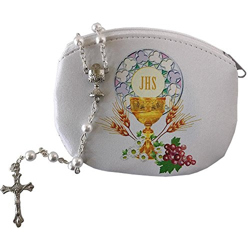 First Holy Communion Gifts (Girl's First Holy Communion Rosary Pouch w/ White Rosary)