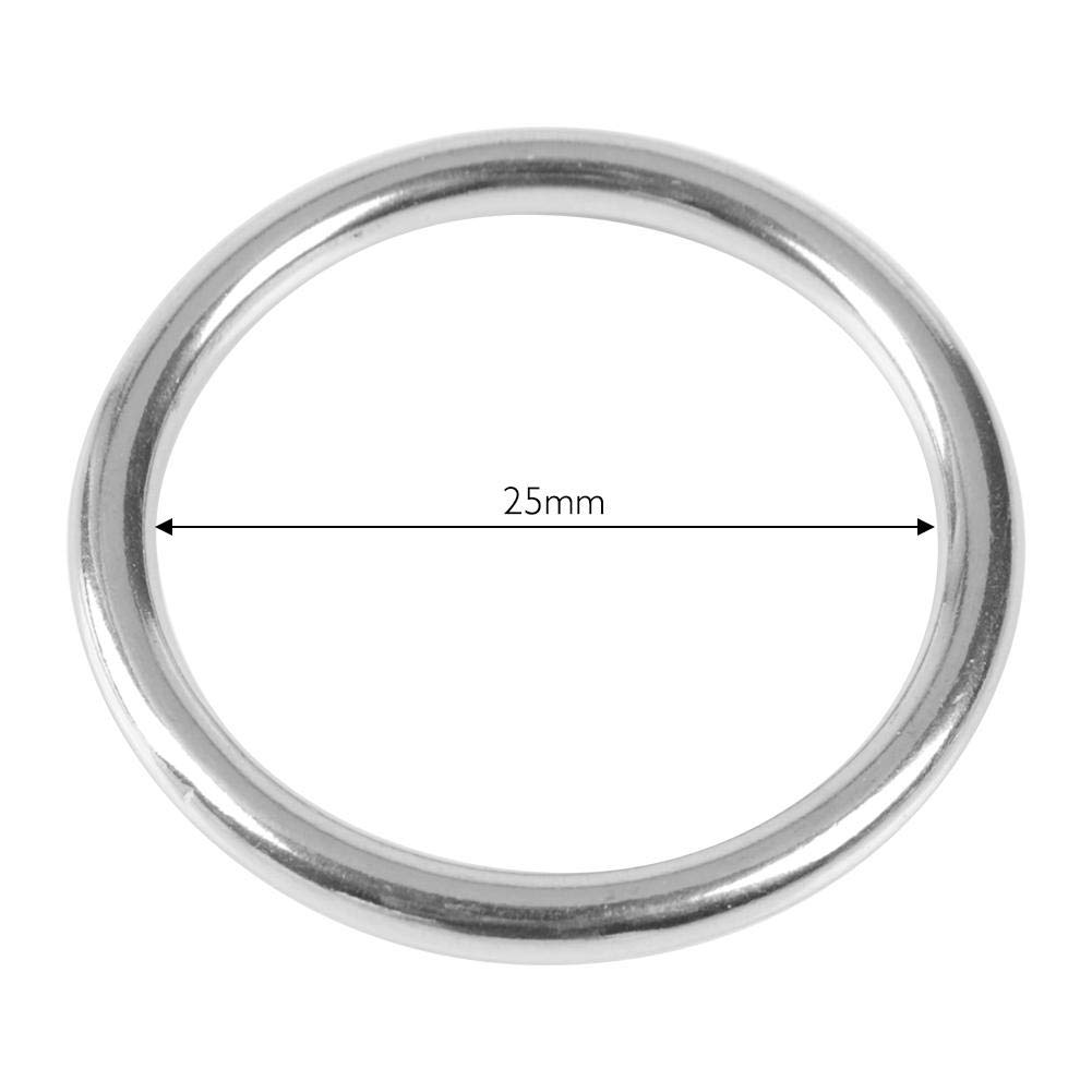 Alomejor 304 Acero Inoxidable Soldado O Ring Line Dia 5 mm para el Collar del Animal dom/éstico s/ólido Fuerte Capacidad de rodamiento Anillo Accesorios de Buceo