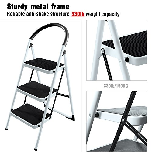 Ohuhu 3 Step Ladders Steel Frame Folding Step Stool