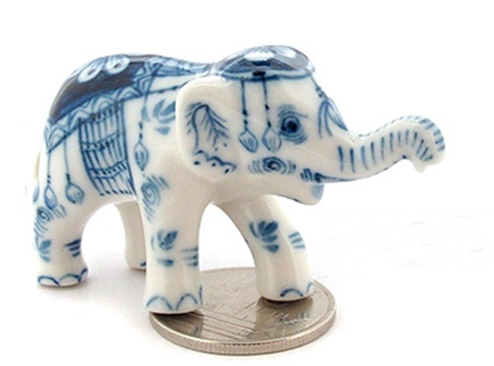 Dollhouse Miniatures Ceramic Baby Elephant Trunk Up 1 FIGURINE Animals Decor