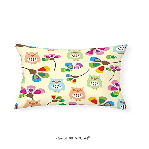 VROSELV Custom pillowcasesCartoon Cute Design Owls with Flowers Leaves Branches Design for Kid Nursery Room Landscape for Bedroom Living Room Dorm Multicolor(16''x24'') by VROSELV