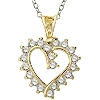 Finecraft Heart Pendant Necklace w/ Cubic Zirconia in 14K Gold Plate