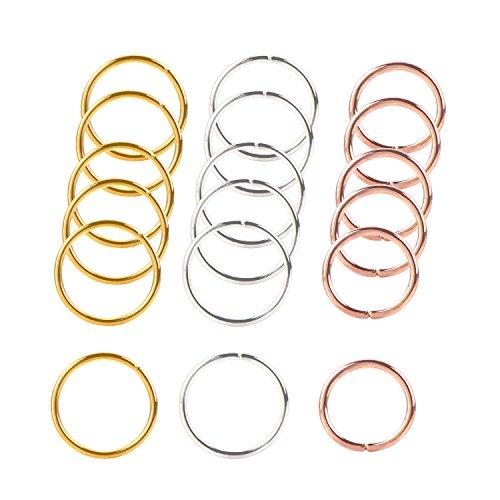 Hestya 90 Pieces Braid Rings Hair Hoops Braid Hair Clip Accessories, 3 Colors, 2 Sizes