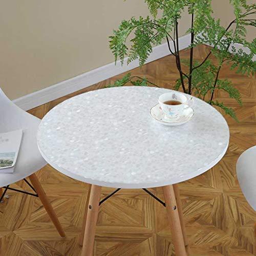 Rond-100cm épaisseur-1.5mm CWJ Nappe Table-Table Nappe , Nappes Doux Nappe en Verre Imperméable Anti-Huile Anti-Chaud Tapis De Table Maison PVC Nappe Souple De Ménage